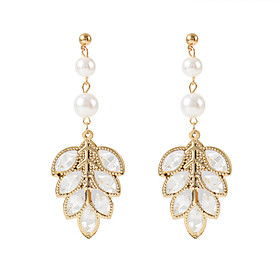 Women's Retro Drop Earrings - Imitation Pearl Leaf European, Fashion, Elegant Gold / Silver For Party Birthday