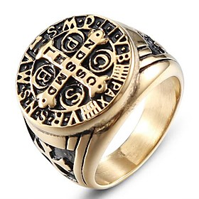 Men's Vintage Style 3D Band Ring - Titanium Steel Cross Simple, Classic 9 / 10 Gold For Halloween Daily Street