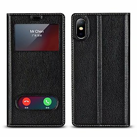Case For Apple iPhone X / iPhone 8 Plus Wallet / Shockproof / with Stand Full Body Cases Solid Colored Hard Genuine Leather for iPhone X / iPhone 8 Plus / iPho