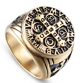 Men's Vintage Style Sculpture Engraved Ring Signet Ring Titanium Steel Steel Stainless Cross Letter Stylish Vintage Punk Ring Jewelry Champagne For Street Club