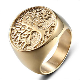 Men's Vintage Style 3D Band Ring - Titanium Steel Tree of Life Simple, Classic 9 / 10 Gold For Halloween Daily Work
