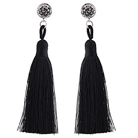 Women's Tassel Long Drop Earrings Earrings Ladies Simple European Fashion Jewelry Red / Blue / Pink For Causal Daily 1 Pair