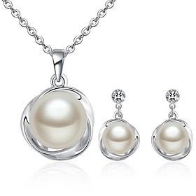 Women's White Freshwater Pearl Solitaire Jewelry Set - Pearl Korean Include Earrings Pearl Necklace Silver For Gift Evening Party