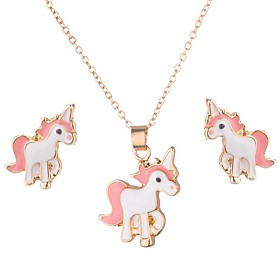 Women's Trace Jewelry Set Unicorn, Animal Ladies, Stylish, Sweet, Cute Include Stud Earrings Pendant Necklace White / Gray / Pink For Gift Date