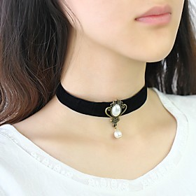 Women's Classic Choker Necklace - Imitation Pearl Doll's Lolita Black 308 cm Necklace Jewelry 1pc For Daily, Festival