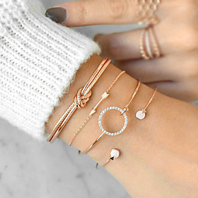 Women's Cubic Zirconia Twisted Bracelet Bangles Cuff Bracelet - Arrow Simple, Casual / Sporty, Boho Bracelet Gold / Silver For Graduation Gift Daily / 4pcs