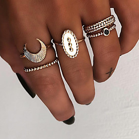 Women's Retro Knuckle Ring Ring Set Multi Finger Ring Resin Alloy Moon Ladies Vintage Punk Boho Ring Jewelry Gold / Silver For Gift Daily Street Club Bar 8 5pc
