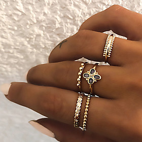 Women's Retro Knuckle Ring Ring Set Multi Finger Ring Resin Imitation Diamond Alloy Clover Ladies Vintage Punk Boho Ring Jewelry Gold / Silver For Gift Daily S