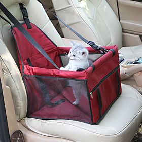 Cat Dog Car Seat Cover Pet Carrier Waterproof Portable Breathable Solid Colored Red Blue Pink