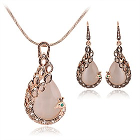 Women's Pink Sculpture Jewelry Set Rhinestone Peacock, Pear Ladies, Stylish, Sweet, Elegant Include Drop Earrings Pendant Necklace Pink For Gift Date