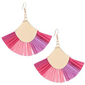 Women's Tassel Drop Earrings - European, Fashion, Oversized Black / Orange / Rose For Daily Evening Party