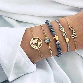 5pcs Women's Gray Crystal Stacking Stackable Bead Bracelet Bracelet Bracelet Set Maps Heart Turtle Ladies Bohemian Fashion Bracelet Jewelry Gold For Gift Eveni