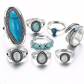 Women's Opal Vintage Style Statement Ring Ring Set - Leaf, Drop Statement, Vintage, Bohemian Silver For Gift Evening Party / 8pcs
