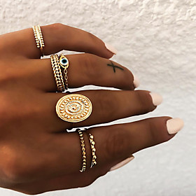 Women's Retro Knuckle Ring Ring Set Multi Finger Ring Resin Alloy Sun Eyes Ladies Vintage Punk Boho Ring Jewelry Gold / Silver For Gift Daily Street Club Bar 8