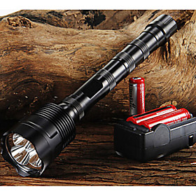 Trustfire LED Flashlights / Torch LED LED 3 Emitters 3800/3000 lm 5 Mode with Batteries and Charger Adjustable Focus Nonslip grip Camping / Hiking / Caving Eve
