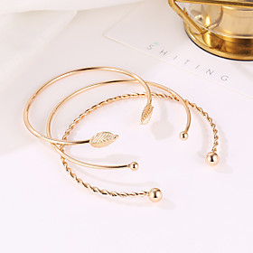 3pcs Women's Layered Cuff Bracelet Bracelet Set Leaf Ladies Simple Casual / Sporty Fashion Bracelet Jewelry Gold For Going out Work