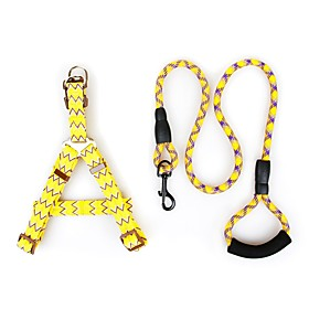 Dogs Outfits Harness Leash Trainer Adjustable Size Running Solid Colored Geometry Nylon Yellow Fuchsia Blue