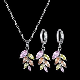 Women's Multicolor Cubic Zirconia Trace Jewelry Set Rhinestone Leaf Ladies, Stylish, Sweet, Elegant Include Drop Earrings Pendant Necklace Silver / Rainbow For