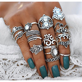 Women's Crystal Vintage Style Statement Ring Ring Set - Heart, Flower, Crown Statement, Bohemian, Punk Silver For Evening Party Masquerade / 16pcs