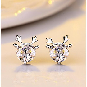 Women's AAA Cubic Zirconia 3D Stud Earrings - Elk Stylish, Classic Silver For Christmas Daily