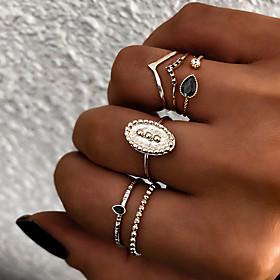 Women's Retro Knuckle Ring Ring Set Multi Finger Ring Resin Alloy Sun Ladies Vintage Punk Boho Ring Jewelry Gold / Silver For Gift Daily Street Club Bar 8 6pcs