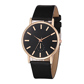 Men's Dress Watch Quartz Casual Watch Cool Leather Band Analog Casual Elegant Black / White / Brown - White / Gold Rose Gold / White Black / Rose Gold One Year