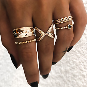 Women's Retro Knuckle Ring Ring Set Resin Alloy Ladies Vintage Punk Boho Ring Jewelry Gold / Silver For Daily Street Club Bar 9 5pcs