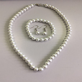 Women's Pearl Jewelry Set - Pearl Elegant, Bridal Include Strands Necklace Necklace / Earrings White For Wedding Party