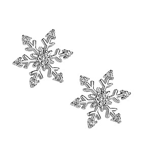 Women's 3D Stud Earrings - Silver Plated, Imitation Diamond Snowflake Stylish, Simple Silver For Christmas Daily