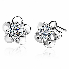 Women's Classic Stud Earrings - Flower European, Sweet, Fashion Silver For Causal Daily