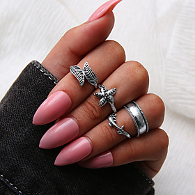 Women's Retro Ring Set Multi Finger Ring - Leaf, Starfish Personalized, Unique Design, Vintage 7 Silver For Daily Evening Party Street / 4pcs