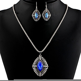 Women's Synthetic Amethyst Hollow Out Jewelry Set - Drop Stylish, Classic Include Drop Earrings Necklace Dark Blue / Champagne For Party Daily
