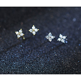 Women's Clear Cubic Zirconia Classic Stud Earrings Rhinestone S925 Sterling Silver Earrings Flower Ladies Stylish Sweet Elegant Jewelry Gold / Silver For Date