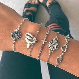 Women's Layered Chain Bracelet Charm Bracelet Pendant Bracelet - Cross, Sweet Heart, Shell Vintage, Boho Bracelet Silver For Gift Daily Street / 5pcs