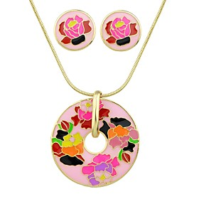 Women's Tropical Jewelry Set - Simple, Fashion Include Stud Earrings Pendant Necklace White / Peach For Ceremony Date