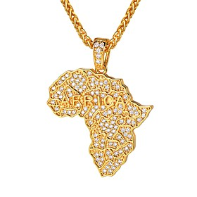 Men's Clear AAA Cubic Zirconia Classic Pendant Necklace - Maps Classic, Fashion Gold, Silver 55 cm Necklace Jewelry 1pc For Gift, Daily