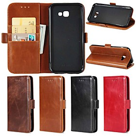 Case For Samsung Galaxy A8 Plus 2018 / A5(2018) Wallet / Card Holder / with Stand Full Body Cases Solid Colored Hard Genuine Leather for A5(2018) / A3(2017) /