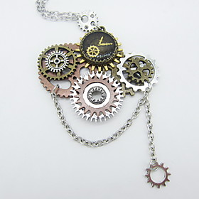 Women's Hollow Out Statement Necklace - Gear Statement, Steampunk Cool Silver 565 cm Necklace Jewelry 1pc For Carnival, Professional