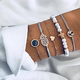 Women's Layered Beads Chain Bracelet Charm Bracelet Bracelet Bangles - Resin Maps, Turtle, Pineapple Unique Design, Boho Bracelet Gold For Gift Daily Evening P