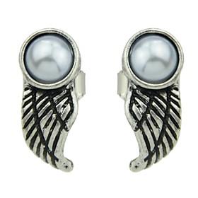 Women's Pearl Beaded Stud Earrings Pearl Earrings Wings Ladies Basic Fashion Jewelry Silver For Daily Date 1 Pair