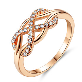 Women's Cubic Zirconia Hollow Out X Ring Ring Promise Ring Rhinestone Alloy Infinity Ladies Fashion Elegant Ring Jewelry Gold For Gift Evening Party Promise