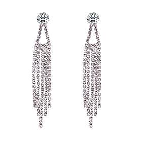 Women's Tennis Chain Drop Earrings - Tassel, European, Fashion Silver For Party / Evening Date