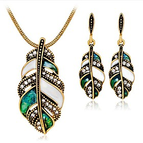 Women's White Cubic Zirconia Vintage Style Jewelry Set - Leaf Vintage Include Vintage Necklace Gold / Silver For Party Daily