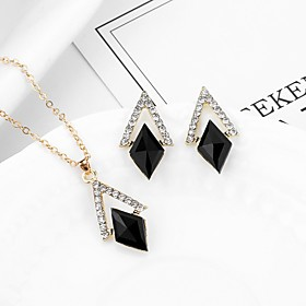Women's Cubic Zirconia Classic Jewelry Set - Geometric, Trendy, Fashion Include Stud Earrings Pendant Necklace Black For Party Festival