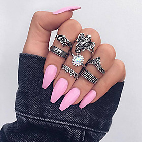 Women's Cubic Zirconia Retro Ring Set Tail Ring Multi Finger Ring Rhinestone Alloy Elephant Leaf Flower Ladies Vintage Ethnic Boho Ring Jewelry Silver For Dail