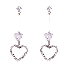 Women's White White Cubic Zirconia Hollow Drop Earrings - Heart Sweet, Fashion, Elegant Silver For Party / Evening Date