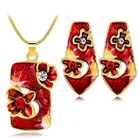 Women's White Cubic Zirconia Vintage Style Jewelry Set - Flower Vintage Include Vintage Necklace Red / Green / Blue For Daily Holiday