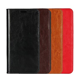 Case For Motorola Moto G6 Plus / MOTO G5 Plus Wallet / Card Holder / with Stand Full Body Cases Solid Colored Hard Genuine Leather for Moto X4 / MOTO G6 / Moto