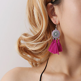 Women's Vintage Style Tassel Drop Earrings - Flower Bohemian, Korean Pink / Wine / Light Blue For Party / Evening Gift Daily