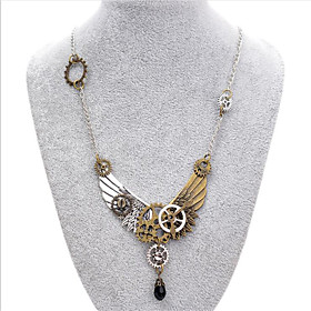 Women's Black Crystal Vintage Style Pendant Necklace - Wings Steampunk Cool Ancient Bronze 46 cm Necklace Jewelry 1pc For Party / Evening, Daily